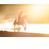 Sunset, Riding, Water splashes