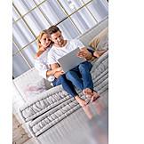 Couple, Laptop, Living Room