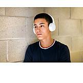 Teenager, Headphones, Listening Music