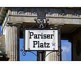 Berlin, Street sign, Pariser platz