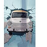 Berlin wall, Graffiti, Trabant, East side gallery, 1989