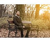 Man, Pensive, Bench
