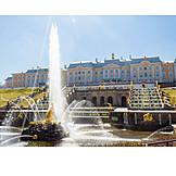 Park, Water fountain, St. petersburg, Castle peterhof