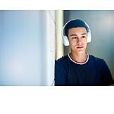 Teenager, Headphones, Dreaming, Listening Music